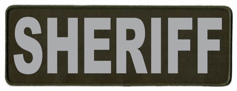SHERIFF Identification Patch - 11x4 - Gray Lettering - OD Green Twill Backing