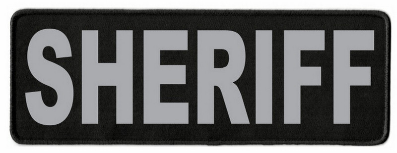 SHERIFF Identification Patch - 11x4 - Gray Lettering - Black Twill Backing