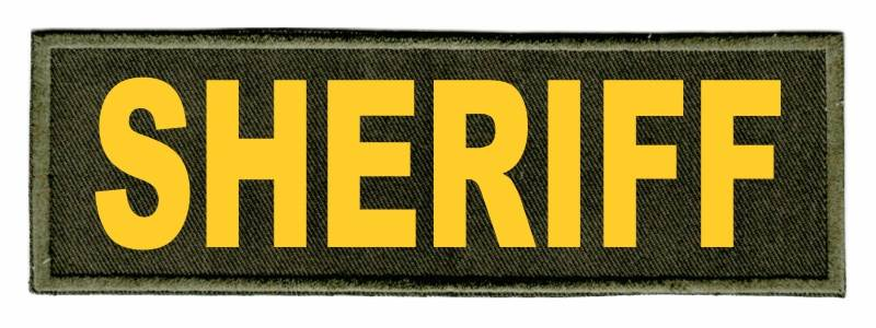 SHERIFF Identification Patch - 6x2 - Gold Lettering - OD Green Twill Backing