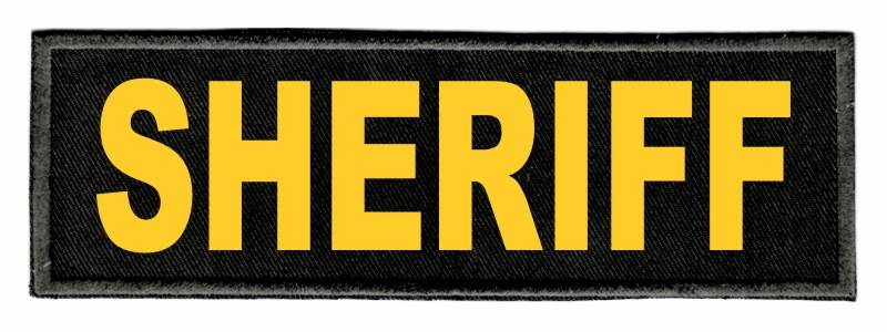 SHERIFF Identification Patch - 6x2 - Gold Lettering - Black Twill Backing