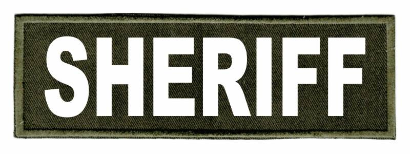 SHERIFF Identification Patch - 6x2 - White Lettering - OD Green Twill Backing