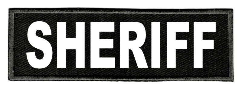 SHERIFF Identification Patch - 6x2 - White Lettering - Black Twill Backing