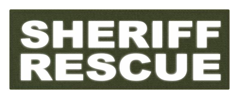 SHERIFF RESCUE ID Patch - 11x4 - Reflective White Lettering - OD Green Backing - Hook Fabric