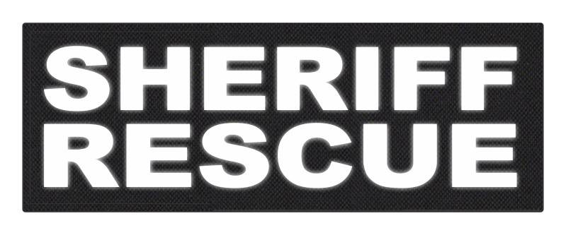 SHERIFF RESCUE ID Patch - 11x4 - Reflective White Lettering - Black Backing - Hook Fabric
