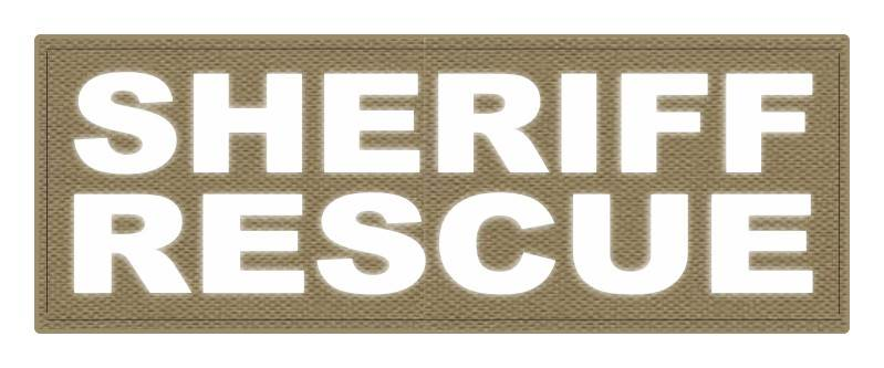 SHERIFF RESCUE ID Patch - 11x4 - Reflective White Lettering - Tan Backing - Hook Fabric
