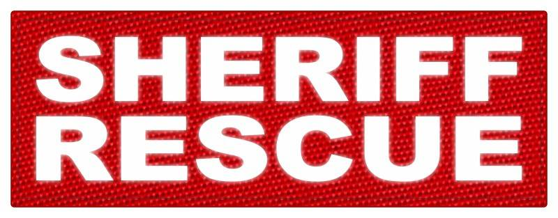 SHERIFF RESCUE ID Patch - 11x4 - Reflective White Lettering - Red Backing - Hook Fabric