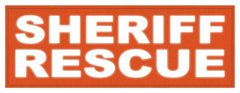 SHERIFF RESCUE ID Patch - 11x4 - Reflective White Lettering - Orange Backing - Hook Fabric