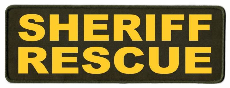 SHERIFF RESCUE Patch - 11x4 - Gold Lettering - OD Green Twill Backing