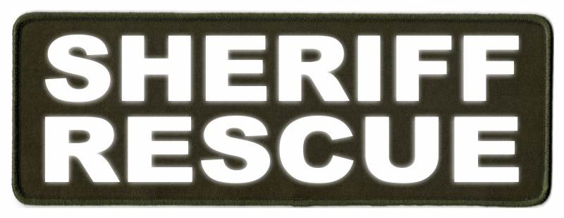 SHERIFF RESCUE Patch - 11x4 - Reflective Lettering - OD Green Twill Backing