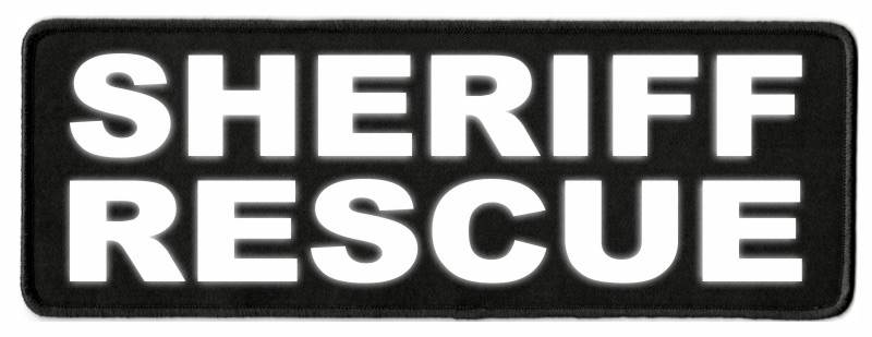 SHERIFF RESCUE Patch - 11x4 - Reflective Lettering - Black Twill Backing