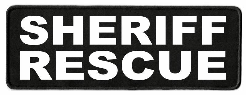 SHERIFF RESCUE Patch - 11x4 - White Lettering - Black Twill Backing