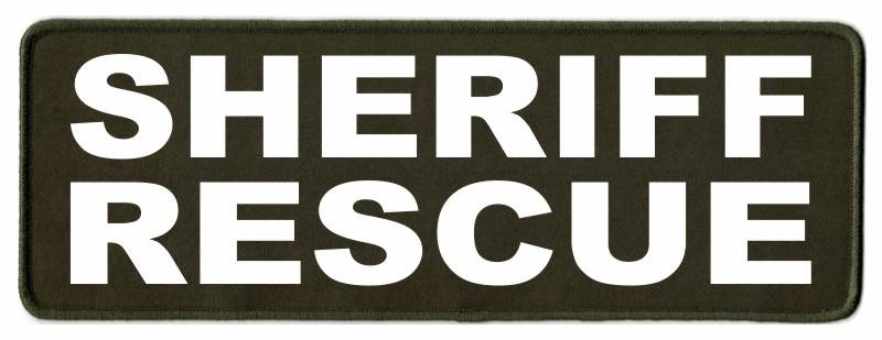 SHERIFF RESCUE Patch - 11x4 - White Lettering - OD Green Twill Backing