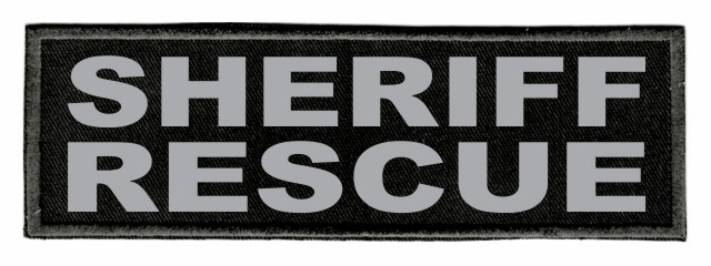 SHERIFF RESCUE Patch - 6x2 - Gray Lettering - Black Twill Backing
