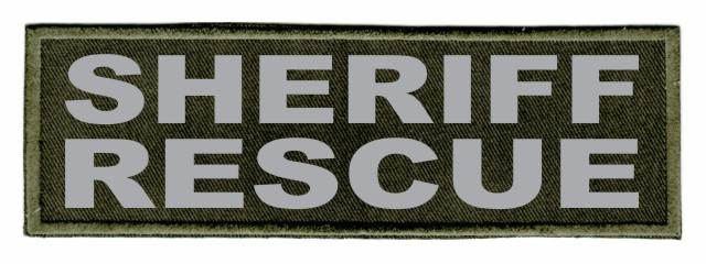 SHERIFF RESCUE Patch - 6x2 - Gray Lettering - OD Green Twill Backing