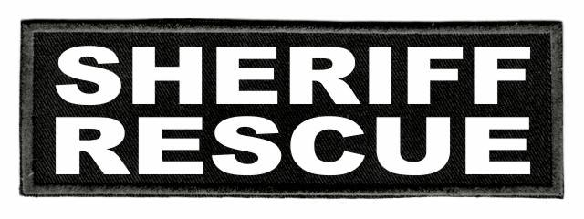 SHERIFF RESCUE Patch - 6x2 - White Lettering - Black Twill Backing