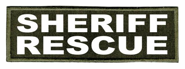 SHERIFF RESCUE Patch - 6x2 - White Lettering - OD Green Twill Backing