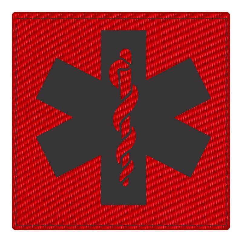 Star of Life Medical Patch 4x4 - Black Image - Red Backing - Hook Fabric