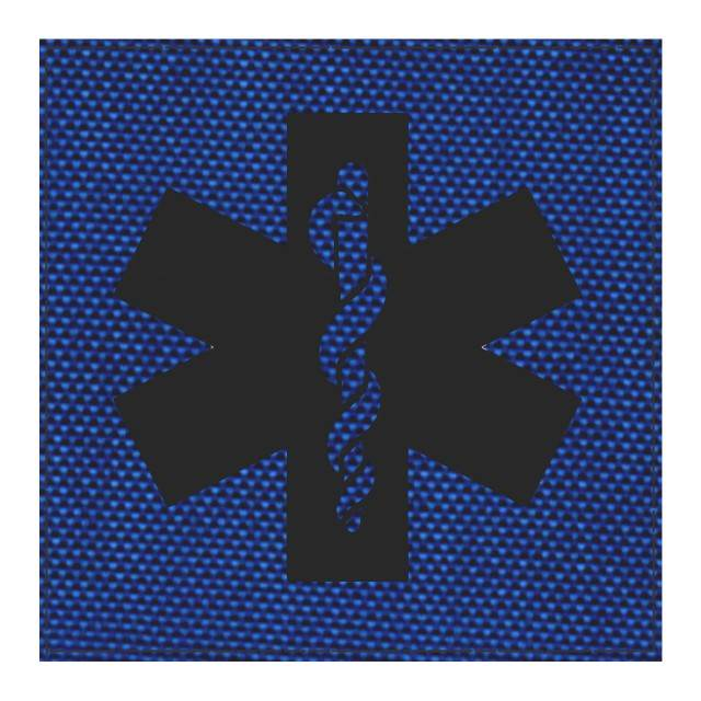 Star of Life Medical Patch 4x4 - Black Image - Royal Blue Backing - Hook Fabric