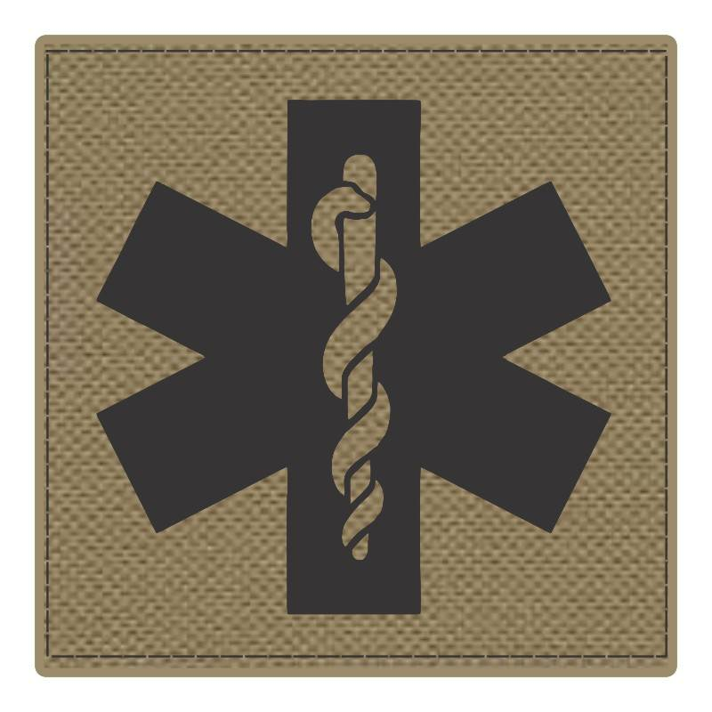 Star of Life Medical Patch 4x4 - Black Image - Tan Backing - Hook Fabric