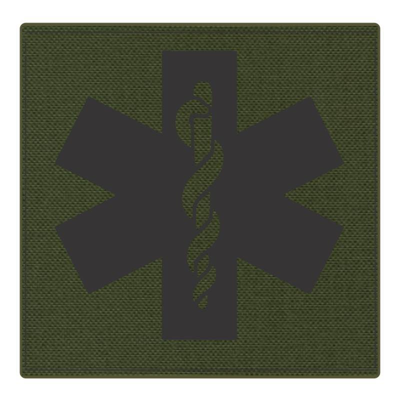 Star of Life Medical Patch 4x4 - Black Image - OD Green Backing - Hook Fabric