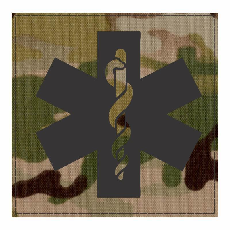 Star of Life Medical Patch 4x4 - Black Image - Multicam Backing - Hook Fabric