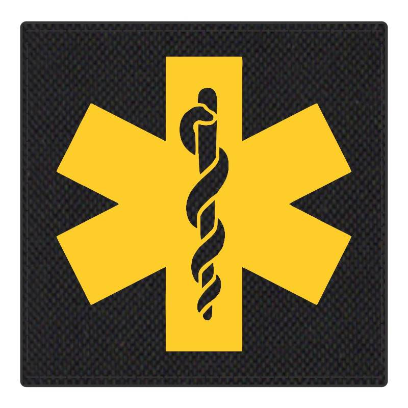 Star of Life Medical Patch 4x4 - Gold Image - Black Backing - Hook Fabric