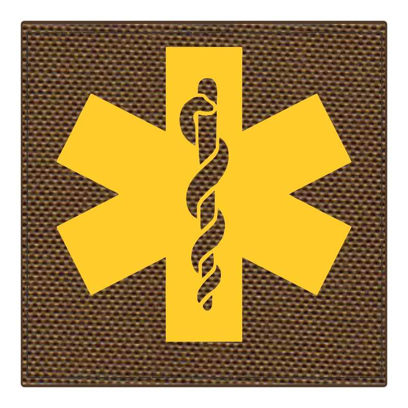 Star of Life Medical Patch 4x4 - Gold Image - Coyote Backing - Hook Fabric