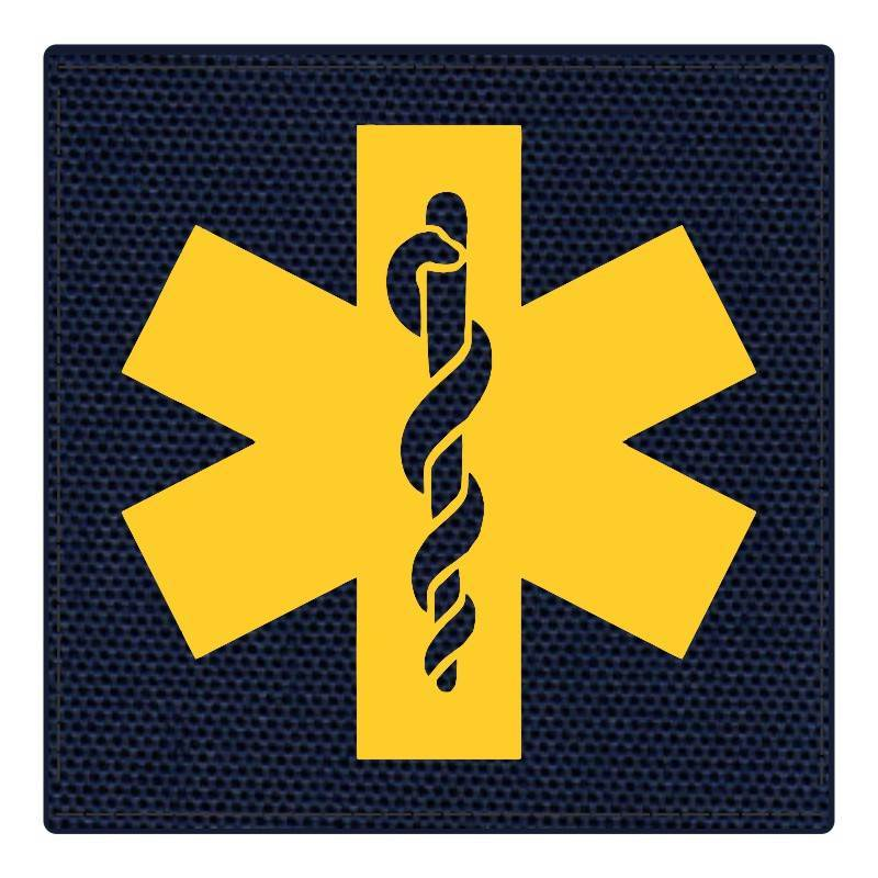 Star of Life Medical Patch 4x4 - Gold Image - Navy Backing - Hook Fabric