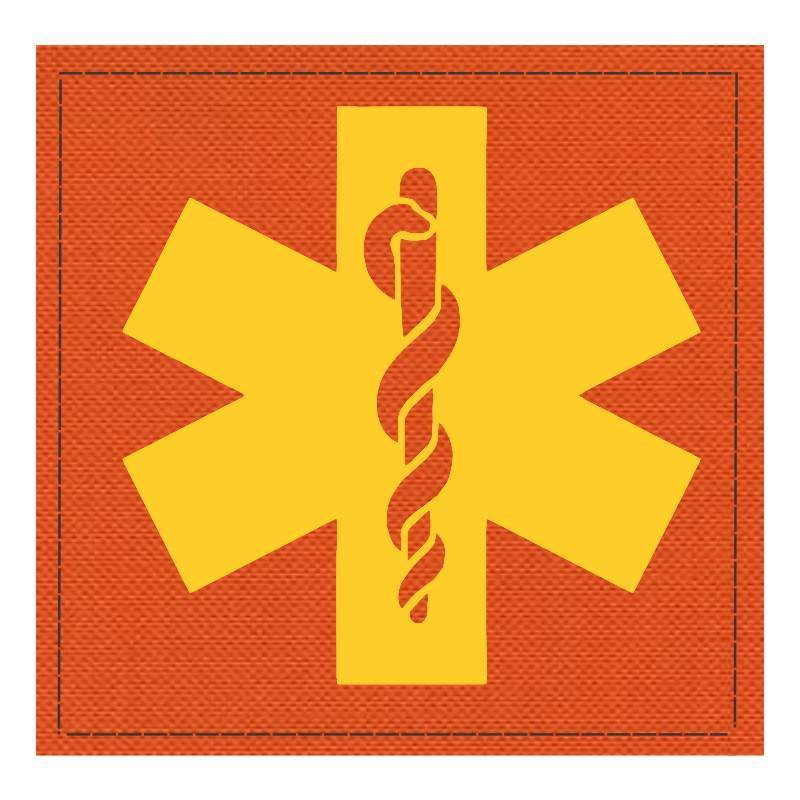 Star of Life Medical Patch 4x4 - Gold Image - Orange Backing - Hook Fabric
