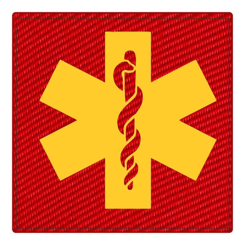 Star of Life Medical Patch 4x4 - Gold Image - Red Backing - Hook Fabric
