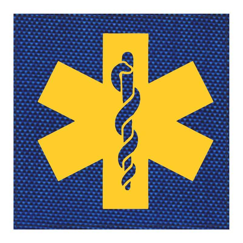 Star of Life Medical Patch 4x4 - Gold Image - Royal Blue Backing - Hook Fabric