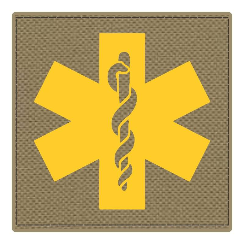 Star of Life Medical Patch 4x4 - Gold Image - Tan Backing - Hook Fabric