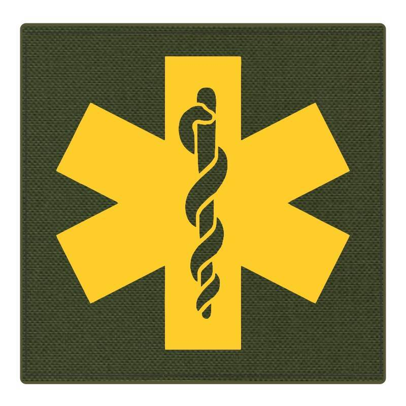 Star of Life Medical Patch 4x4 - Gold Image - OD Green Backing - Hook Fabric