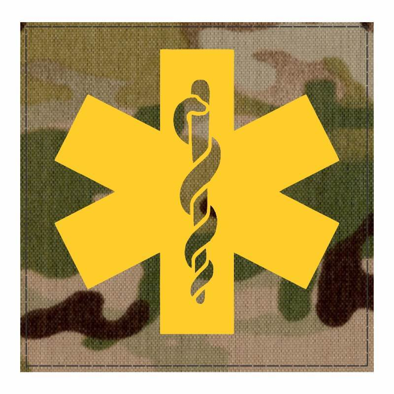 Star of Life Medical Patch 4x4 - Gold Image - Multicam Backing - Hook Fabric