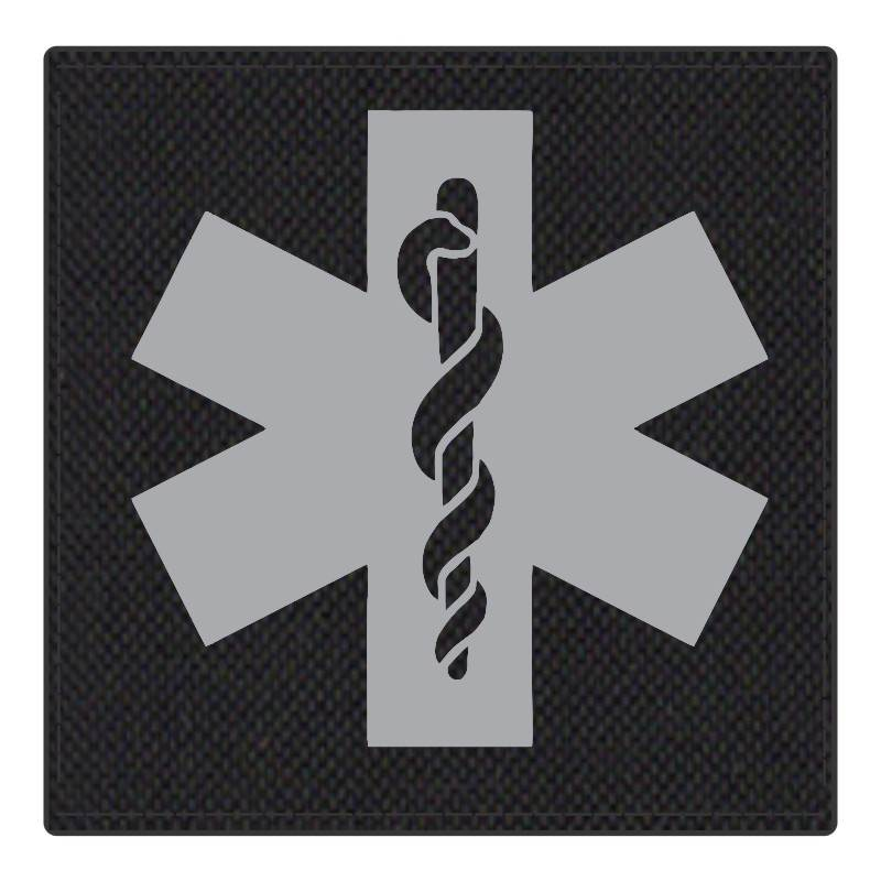 Star of Life Medical Patch 4x4 - Gray Image - Black Backing - Hook Fabric