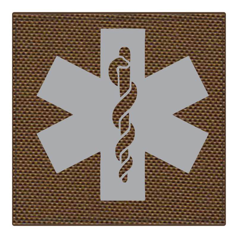 Star of Life Medical Patch 4x4 - Gray Image - Coyote Backing - Hook Fabric
