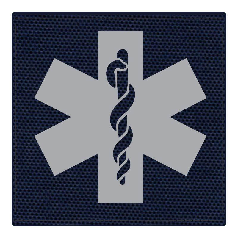 Star of Life Medical Patch 4x4 - Gray Image - Navy Backing - Hook Fabric