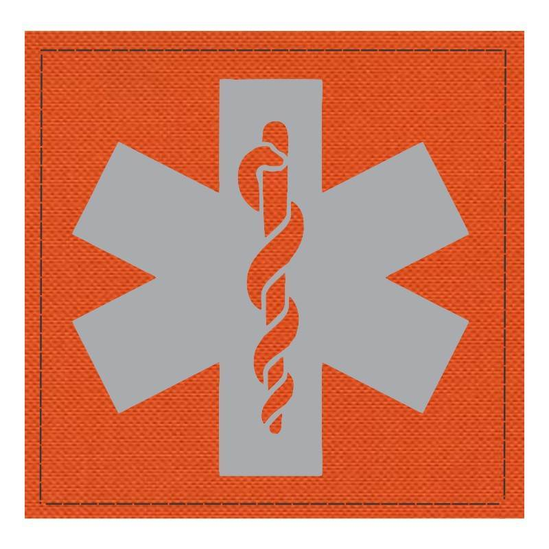 Star of Life Medical Patch 4x4 - Gray Image - Orange Backing - Hook Fabric