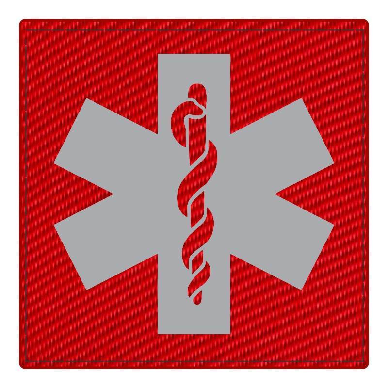 Star of Life Medical Patch 4x4 - Gray Image - Red Backing - Hook Fabric