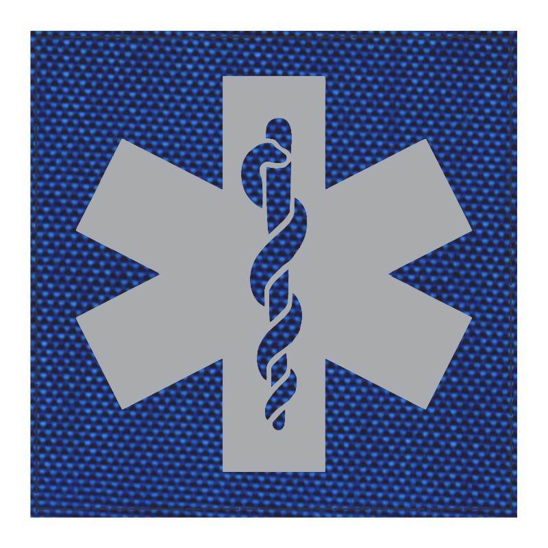 Star of Life Medical Patch 4x4 - Gray Image - Royal Blue Backing - Hook Fabric