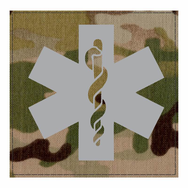 Star of Life Medical Patch 4x4 - Gray Image - Multicam Backing - Hook Fabric