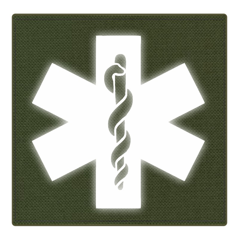 Star of Life Medical Patch 4x4 - Reflective Image - OD Green Backing - Hook Fabric