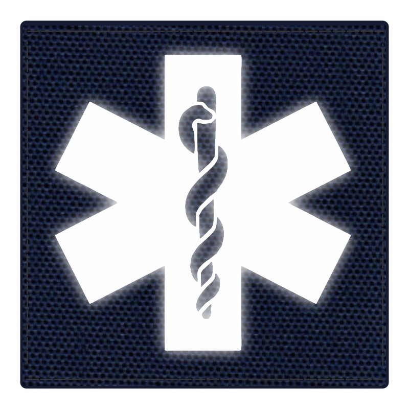 Star of Life Medical Patch 4x4 - Reflective Image - Navy Backing - Hook Fabric