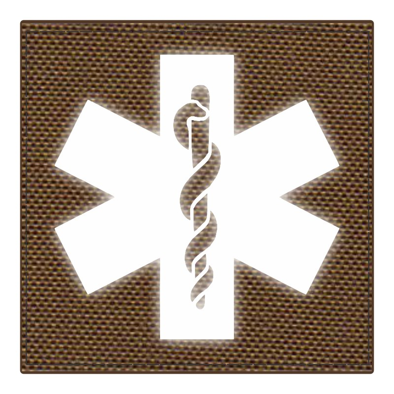 Star of Life Medical Patch 4x4 - Reflective Image - Coyote Backing - Hook Fabric