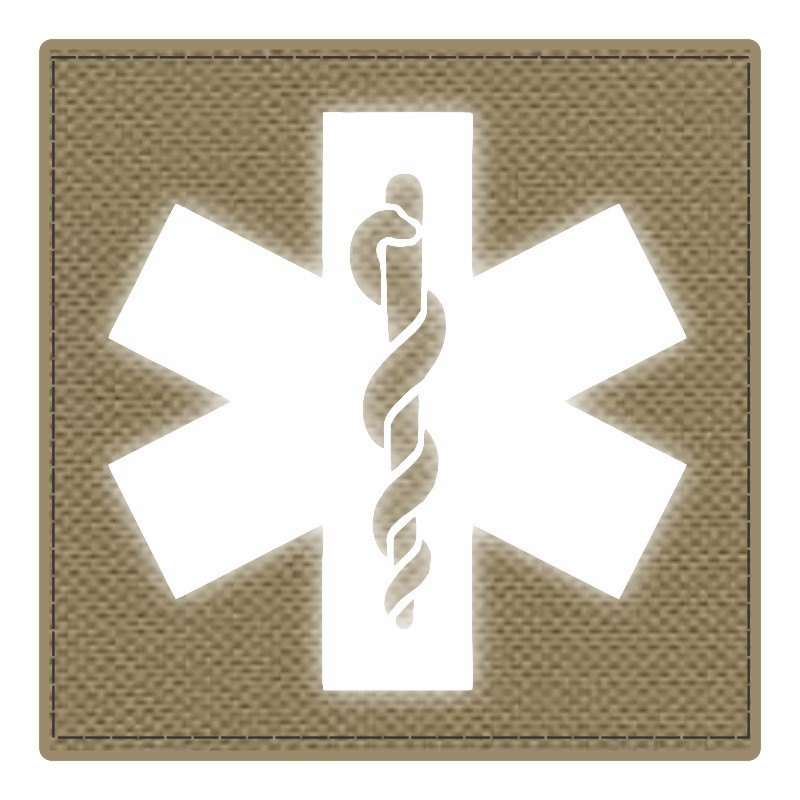 Star of Life Medical Patch 4x4 - Reflective Image - Tan Backing - Hook Fabric