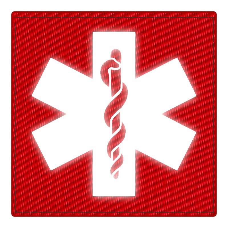 Star of Life Medical Patch 4x4 - Reflective Image - Red Backing - Hook Fabric