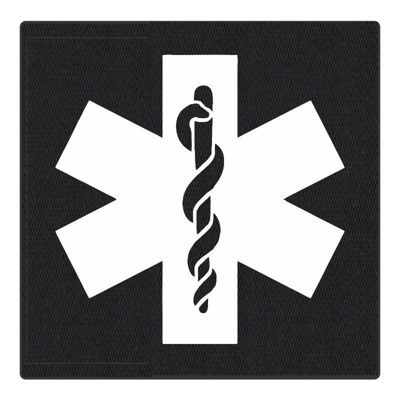 Star of Life Medical Patch 4x4 - White Image - Black Backing - Hook Fabric