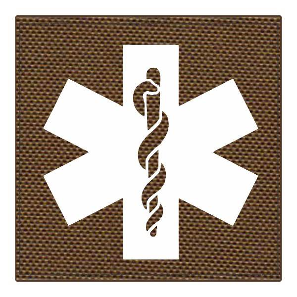 Star of Life Medical Patch 4x4 - White Image - Coyote Backing - Hook Fabric