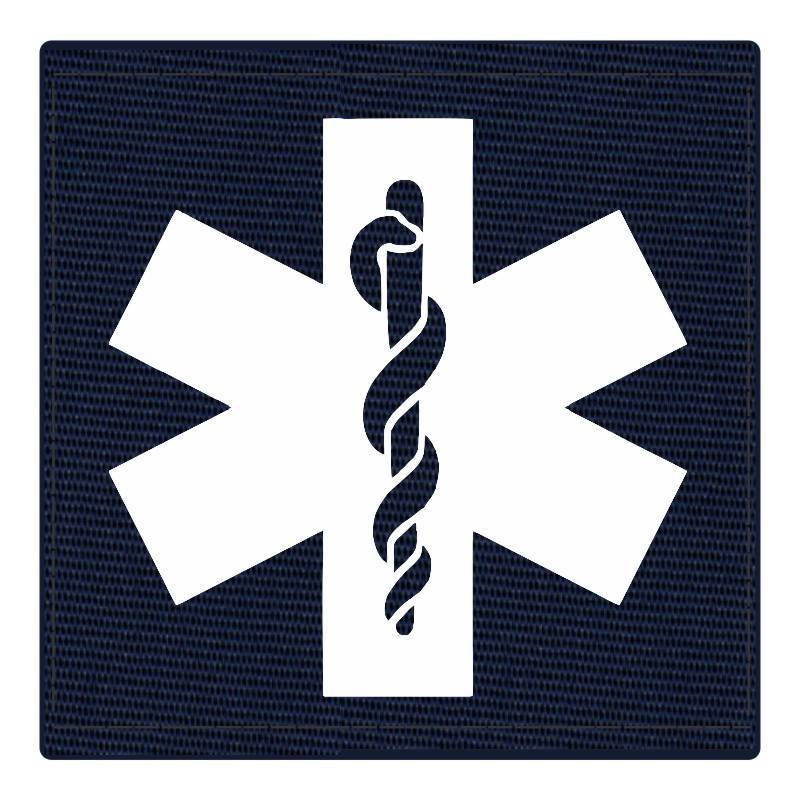 Star of Life Medical Patch 4x4 - White Image - Navy Backing - Hook Fabric