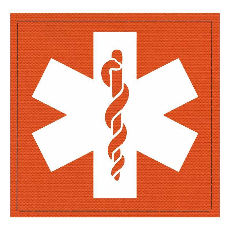 Star of Life Medical Patch 4x4 - White Image - Orange Backing - Hook Fabric